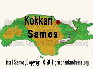 Der rot-schwarze Punkt auf dem Lageplan markiert die Lage von Kokkari auf der Insel Samos in Griechenland.
